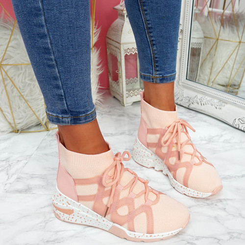 Kezy Pink Lace Up Chunky Trainers
