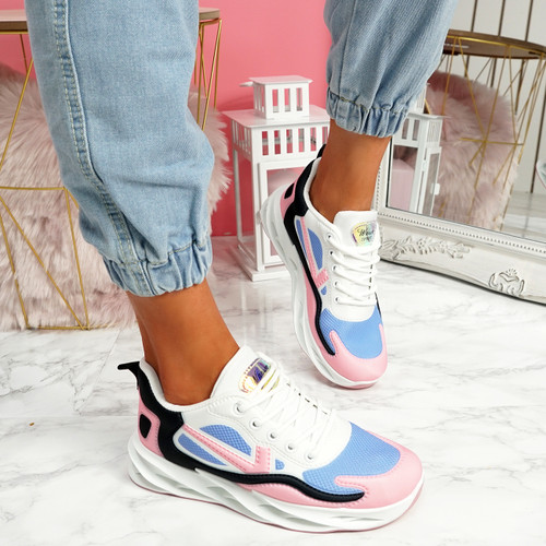 Lorry Pink Black Chunky Sneakers