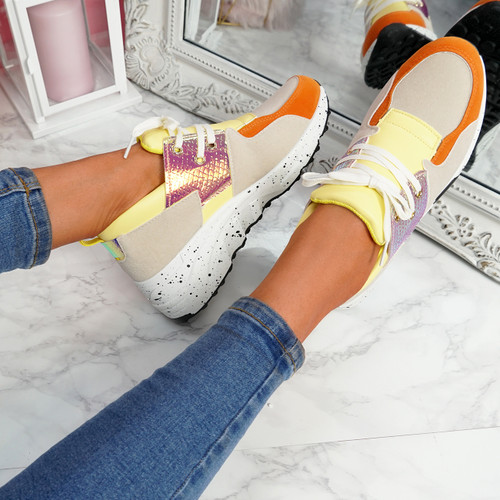 Konny Yellow Chunky Trainers