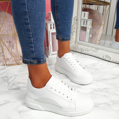 Olivia All White Platform Trainers
