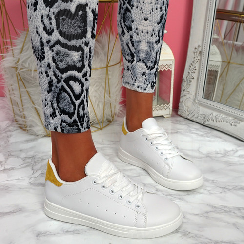 Nevy White Yellow Platform Trainers