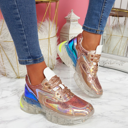 Necco Champagne Shiny Chunky Trainers