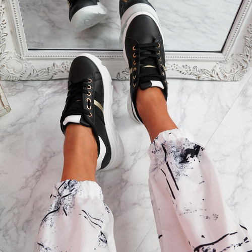 Levy Black Platform Trainers