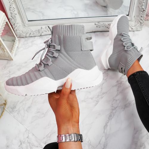 Pomy Grey Sock Chunky Sneakers