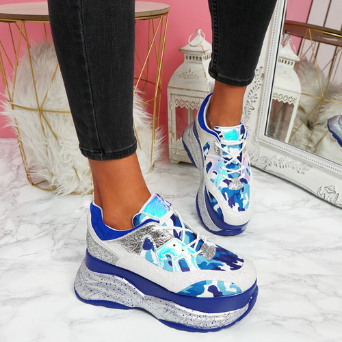 Lora Blue Chunky Platform Trainers