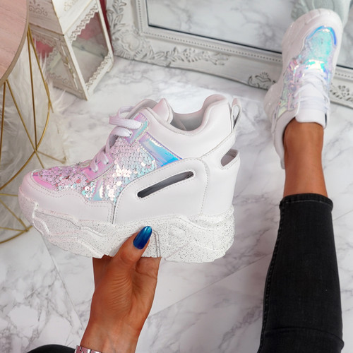 Leny White Glitter Sparkle Chunky Trainers