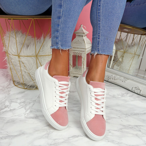 Lorya White Pink Flat Trainers