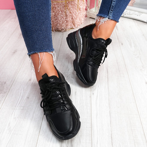 Lany Black Chunky Trainers