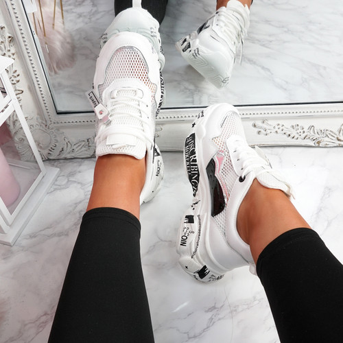 Zeny White Silver Chunky Sneakers