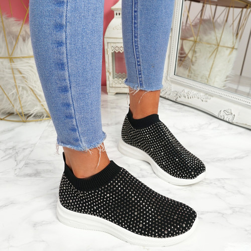 Kolly Black Studded Sock Sneakers