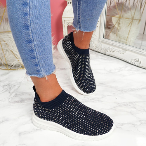 Kolly Blue Studded Sock Sneakers