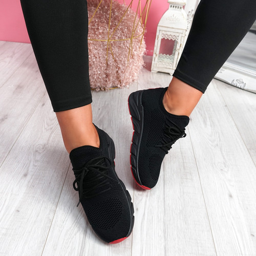 Sinna Black Red Sport Trainers