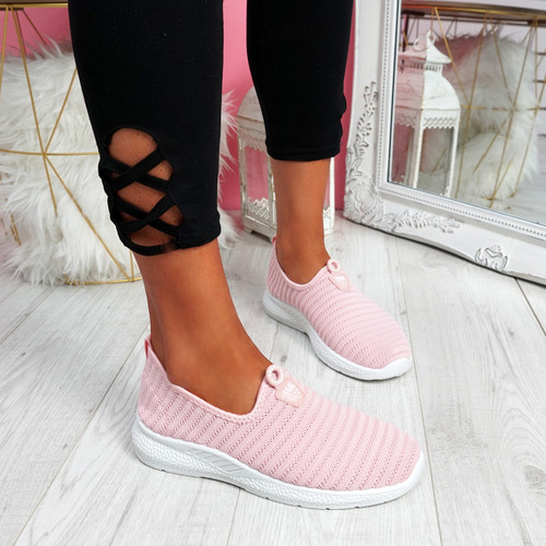 Cinny Pink Knit Running Trainers