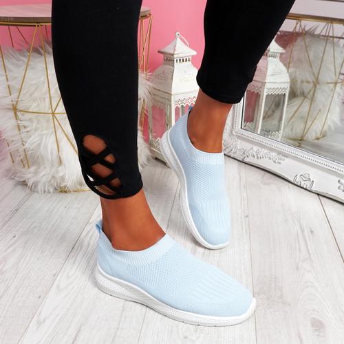 Nurya Light Blue Knit Slip On Trainers