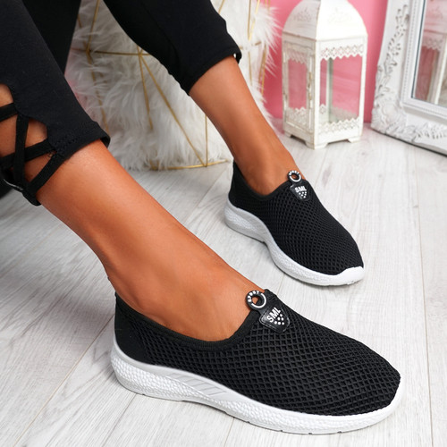 Onno Black Slip On Running Sneakers