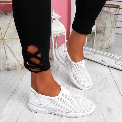 Onno White Slip On Running Sneakers