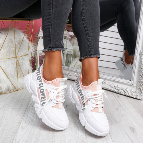 Loppe White Pink Lace Up Chunky Trainers