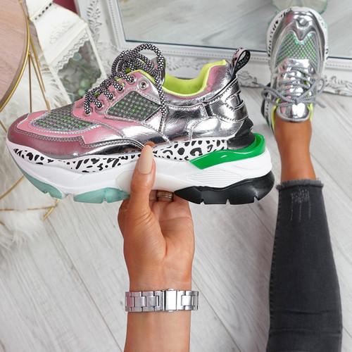 Porya Silver Chunky Sneakers