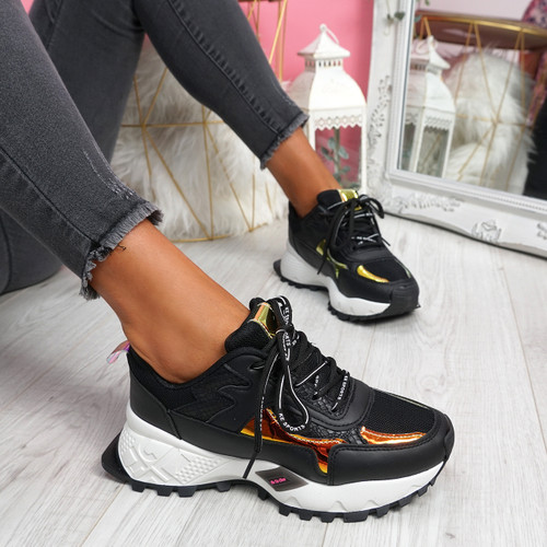 Leppy Black Chunky Trainers