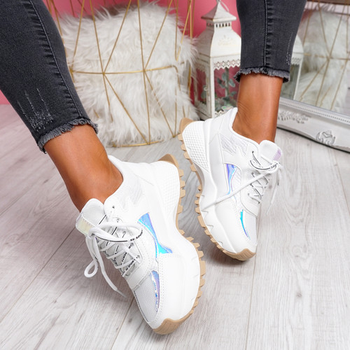 Leppy White Beige Chunky Trainers
