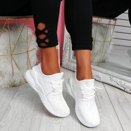 Lammy White Mesh Sneakers