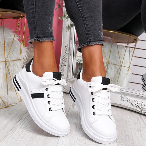 Snawa White Black Lace Up Trainers