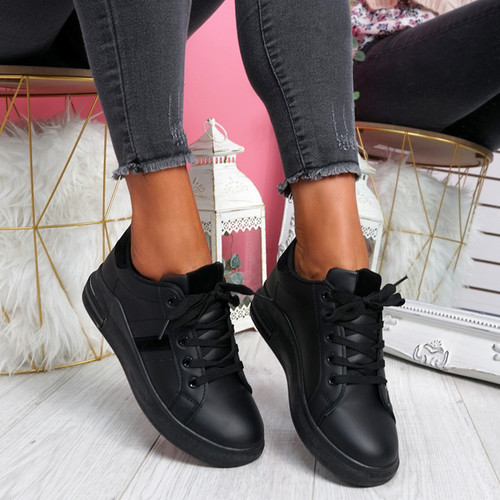 Snawa All Black Lace Up Trainers
