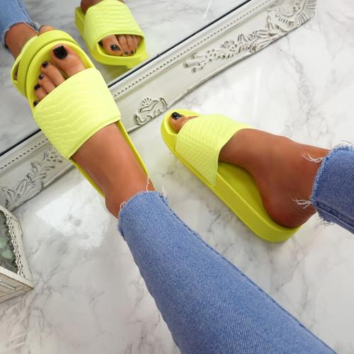 Eka Fluorescent Yellow Flat Sandals