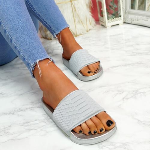 Eka Light Grey Flat Sandals