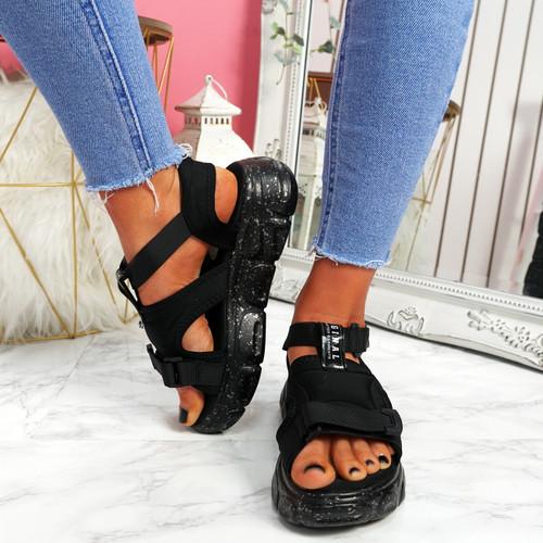 Salla Black Chunky Sandals
