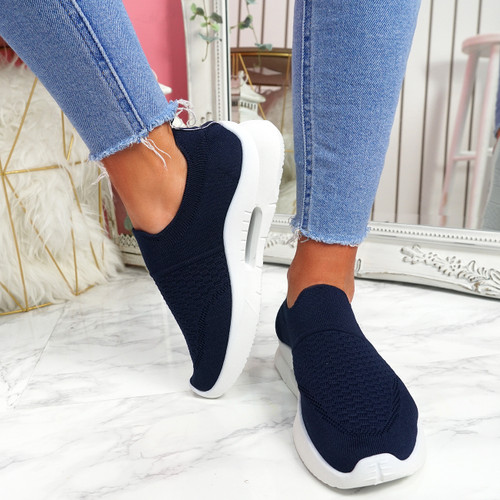 Ello Dark Blue Slip On Trainers