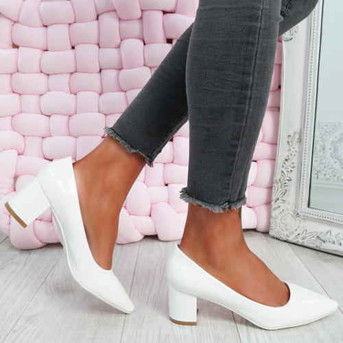 Nya White Block Heel Pumps