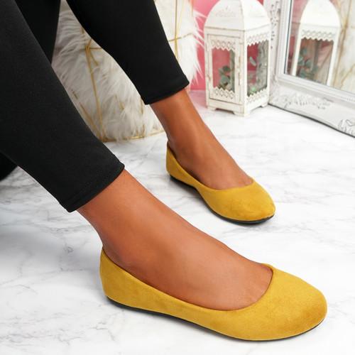 Evera Yellow Slip On Ballerinas