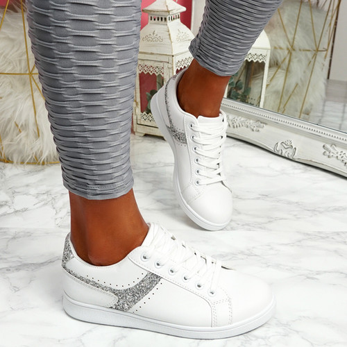 Lezma White Silver Lace Up Trainers