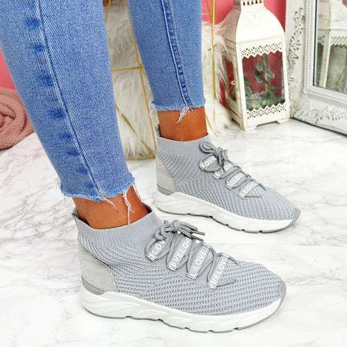 Rogy Grey Lace Up Sock Sneakers