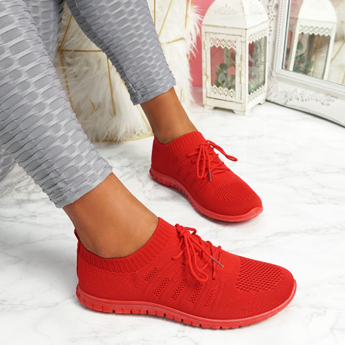 Oya Red Lace Up Knit Trainers