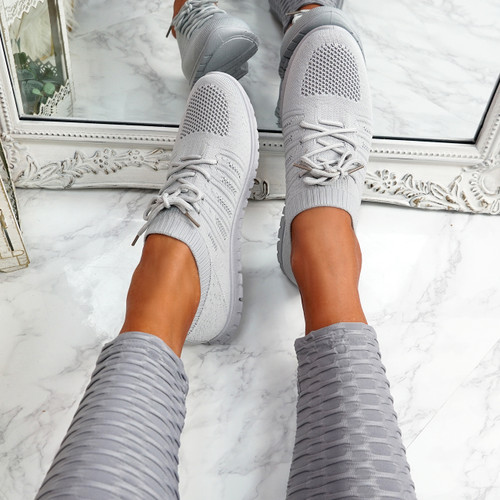 Oya Grey Lace Up Knit Trainers