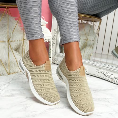 Essy Beige Slip On Knit Trainers