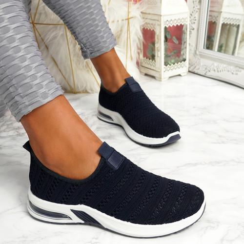 Essy Navy Slip On Knit Trainers