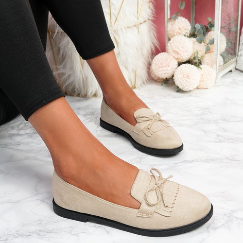 Kolly Beige Bow Fringe Ballerinas