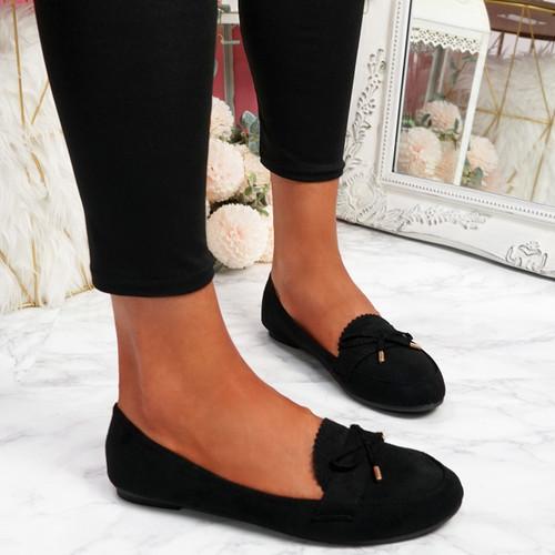 Invy Black Slip On Bow Ballerinas