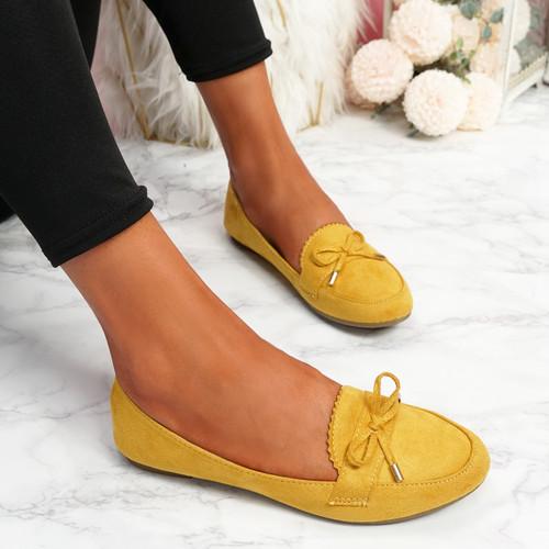Invy Yellow Slip On Bow Ballerinas