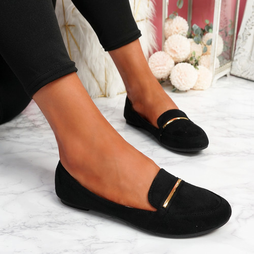 Lessy Black Buckle Flat Ballerinas