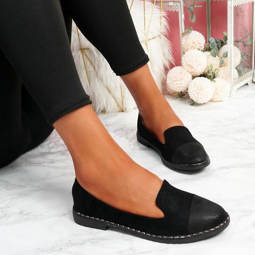 Kyja Black Snake Skin Toe Ballerinas