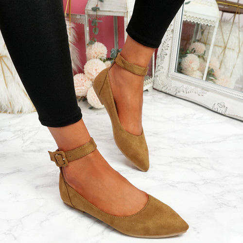 Offy Camel Ankle Strap Ballerinas