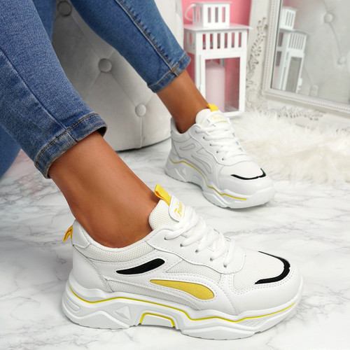 Nimme White Yellow Chunky Sneakers