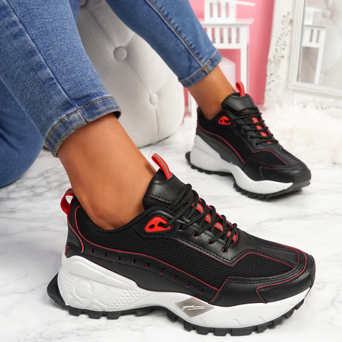 Zennya Black Red Chunky Sneakers