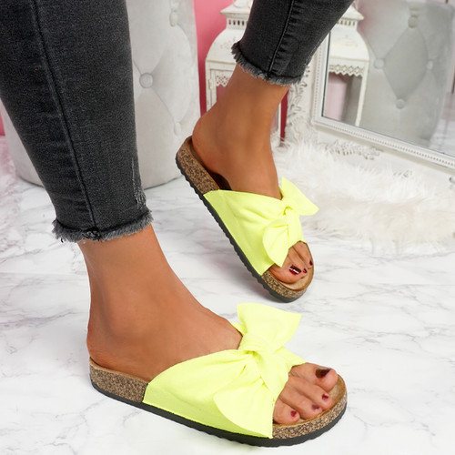 Lela Fluorescent Green Bow Flat Sandals