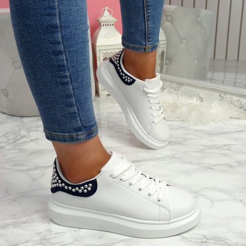 Mika Navy Studded Trainers