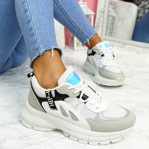 Nuppy White Black Chunky Sneakers